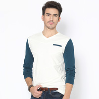 Man Spring 2014 New Arrival Long Sleeve Tshirt Excellent Quality Fashion Design Cotton Material Patchwork T Shirt Men