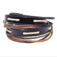 High Quality Multilayer Wrap Braid Genuine Leather Bracelets 2014 New Vintage Handmade Woven Leather Bracelets Bangles Women Hot