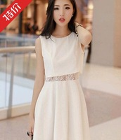 2014 spring summer preppy style fashion street patchwork lace one-piece dress honey