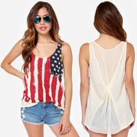 XS - XXL American Flag Print Tank Tops, Chiffon Patchwork Sleeveless T-shirt Women Casual Vest 2014 Summer New Style