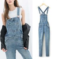 New 2014 Euro Boyfriend Casual Jeans Overall Blue Ripped Denim Jumpsuit Bib Pants Rompers Leggings casacos femininos Playsuit