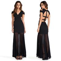 XS - XXL Bandage Patchwork Strapless Racerback Suspenders Cross Chiffon Sweep Sheer Dress Women Long Black Maxi Dress Summer New