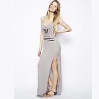 XS - XXL Wildfox Light Gray Shoulder Strap Stripe Placketing Spaghetti Strap Dress 2014 Spring Summer Autumn Long Maxi Dress