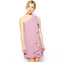 XS - XXL Asymmetrical One Shoulder Ruffle Pleated Sleeveless Cute Chiffon Dress 2104 Women New Brand Fashion Loose Mini Dress