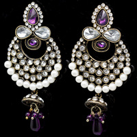 Free Shipping High Quality Clear Crystal Antique Gold Plated Promotion Fashion White Pearl Drop Earrings For Women