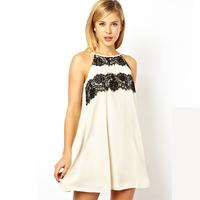 XS - XXL Eyelash Lace Sleeveless Dress 2014 Women Summer Fashion Loose A-line Dress Plus Size