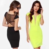 XS - XXL Back Gauze Patchwork Short-sleeve Stretchy Dress Girl Black Lemon Yellow Prom Dress 2014 Summer