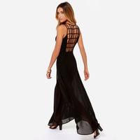 XS - XXL Sexy Square Grid Black Chiffon Dress Women Long Evening Dresses 2014 Summer New Fashion