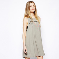 XS - XXL Wildfox Letter Print Vest Style One-piece Dress Plus Size Women Casual Tank Dress 2014 Summer Sundress