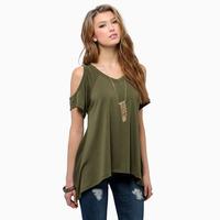 XS - XXL Short-sleeve Fish Tail Sweep Women T-shirt Off Shoulder Loose Casual Asymmetric Tops Tees 2014 Summer Blouse