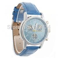 Free Shipping 2 pcs Quartz Movement Wrist Watch Wristwatch Bracelet Blue PU Band Strap