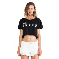 XS-XXL Lover Friend Letter Print O-neck Short Sleeve Black Female Short T-shirt 2014 Summer New Fashion