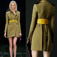 2014 spring fashion thin slim double breasted woolen outerwear  women's long wool winter coats,Free Shipping