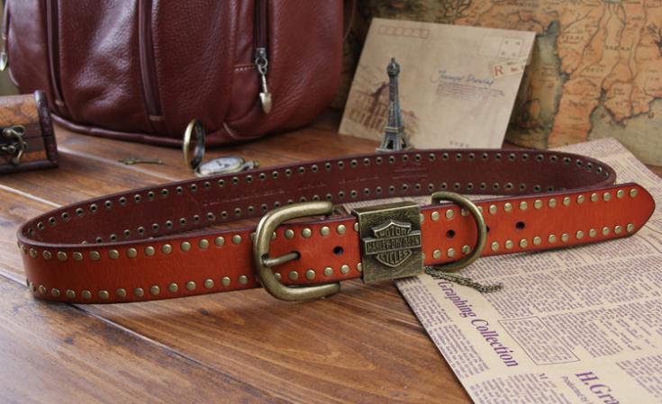100% Genuine Leather New 2014 Men Punk Hip Belts For Men Top Brand Name Metal Rivet Belts Man Strap Male Cinto Ceinture MBT0081(China (Mainland))