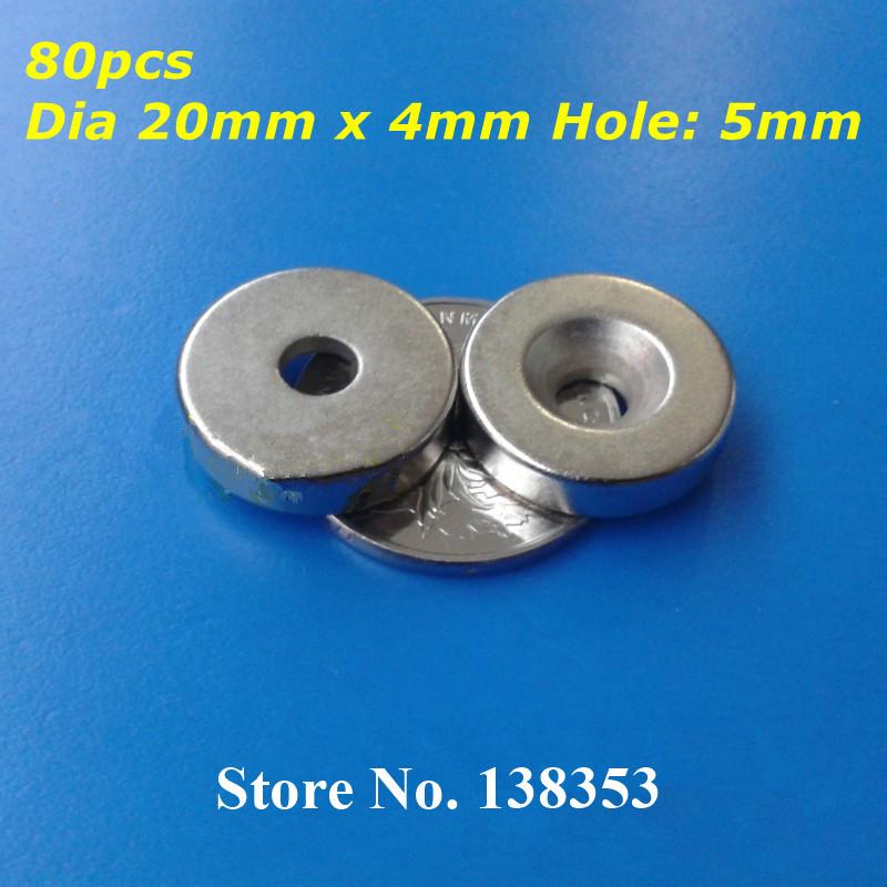 Магнитные материалы HISKY 80pcs Dia 20 x 4 5 N35 D20mm x 4mm_80_Hole:5mm 4 5mm x 0 75 metric hss right hand tap m4 5 x 0 75mm pitch