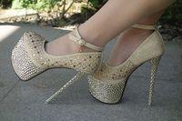 2014 sexy women's pumps 16cm ultra high heels platform party dance shoes rivet pumps ankle strap shoes for woman free shipping
