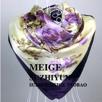 Free Shipping 2014 New Arrival Women Purple Flower Print oil painting square silk scarf women royal rose shawls