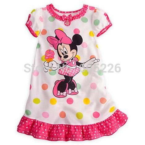 Atacado Vestidos Summer Girls desenhador de banda desenhada Minnie Mouse roupa rosa de bolinhas bonito vestido da menina 5pcslot 80 centímetros - 120 centímetros .(China (Mainland))