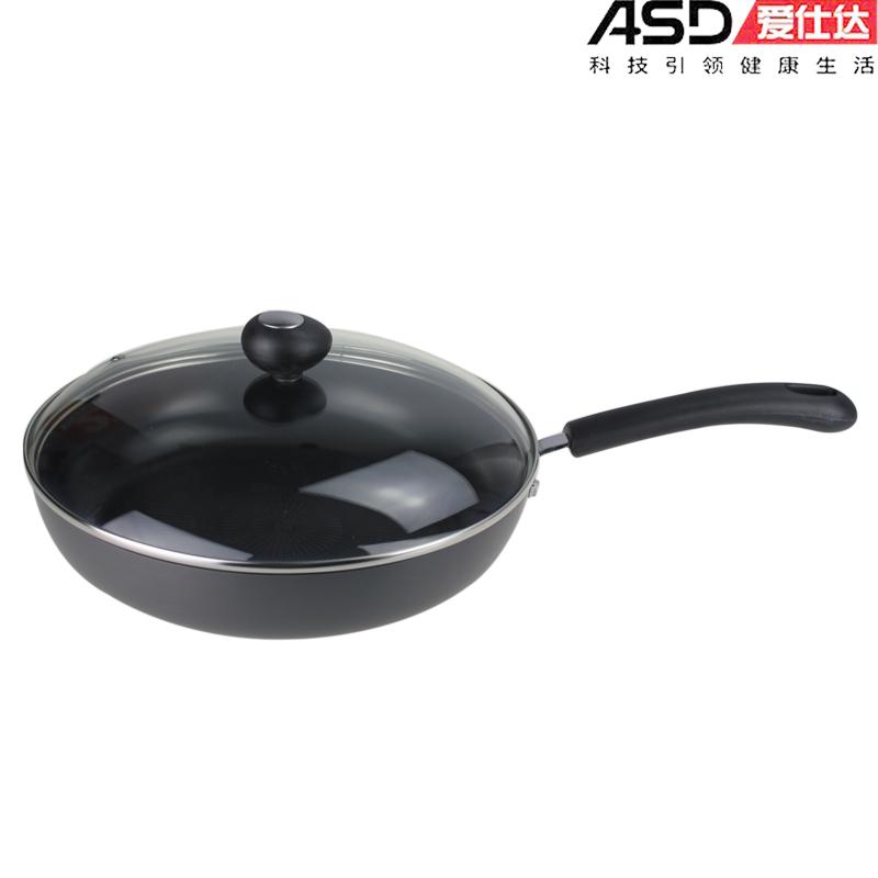 Free shipping Ceramic frying pan buzhanguo smoke flat bottom pot 28cm electromagnetic furnace general e8128 lid(China (Mainland))