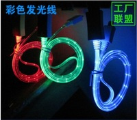 Retail Visible Flashing LED Light Charge Micro USB Data Cable For iphone 4 4s  5 5c   for  iphone  mobile  Freeshipping
