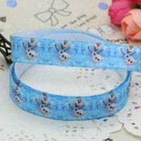 5/8 inch Free shipping Fold Over Elastic FOE anna elsa snowman printed headband diy hair band wholesale OEM H2158