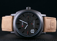 Brand watches men's sports watches round quartz Leather strap watches watch casual perfect gift Men Mechanical Hand Wind