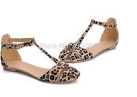 Free Shipping Newest 2014 Fashion Sandals Sweet Leopard Print Flat Heel Women's Sandals 2014 Summer Women Summer Shoes