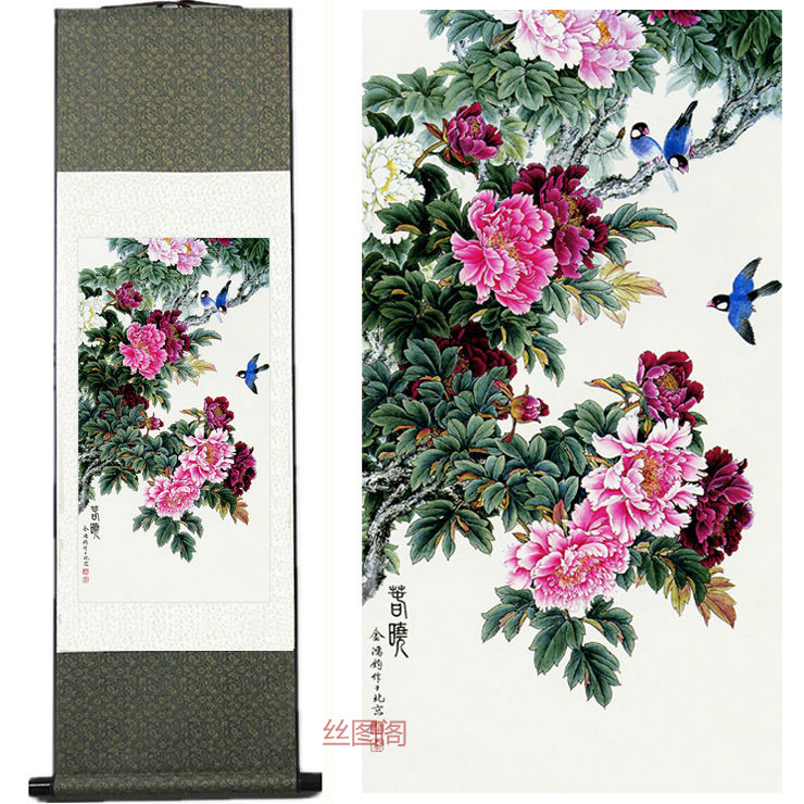 Home Decor Silk ink Peony bird spring painting watercolor flower painting decorative painting silk scroll painting(China (Mainland))