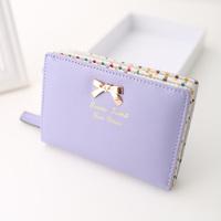 2014 women's wallet girls bow small coin purse short design women's wallet more color