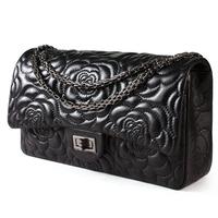 Genuine Sheepskin Leather Classic Rose Pattern Chain Women Leather Handbags Fashion Shoulder Bag Women Day Clutches HB-108