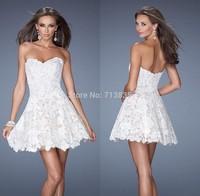 Elegant A-line Sweetheart White Lace Cocktail Dresses Short Prom Party Gowns 2014 New Arrival Vestidos De Fiesta