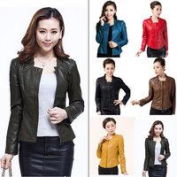 L-5XL 2015 Autumn Winter Women Pu Leather Jacket Fashion Short Slim Zipper Black/Brown/Yellow/Green/Red/Blue Coat Outerwear