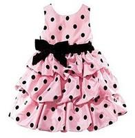Retail girl cake dress new 2014 girl dresses red with black dot kids dress girl red and pink girl's princess dress
