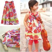Retail 100% cotton 2014 summer little girl dress sleeveless floral dresses children clothing flower girl dresses