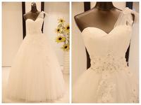 Wedding dress formal dress one shoulder belt flower fresh sweet princess lace strap style strap wedding dress