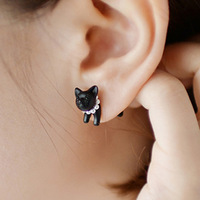 OMH wholesale EH79 single accessories rowky HARAJUKU three-dimensional pearl animal leopard small cat piercing stud earring 2g