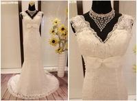 Double shoulder strap slim fish tail slim hip wedding dress V-neck lace embroidered pearl paillette strap train white