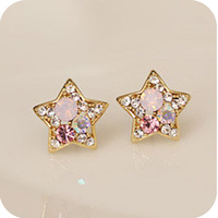 OMH wholesale Oe0354 fashion vintage colorful rhinestone cute stud earring 2g