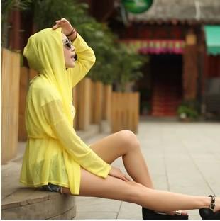 2014 primavera de médio longo roupas de proteção solar protetor solar transparente camisa de manga longa anti uv roupas de praia das mulheres(China (Mainland))