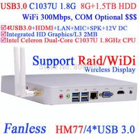 media center htpc with 4 Native USB3.0 WiDi technology support DOS Raid Intel HM77 C1037U 1.8Ghz 8G RAM 1.5TB HDD Windows Linux