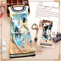 G 2014 summer women's fashion o-neck print pattern sleeveless one-piece dress