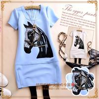 C9395 g 2014 summer women's o-neck diamond flock printing applique gangnam short-sleeve slim hip t-shirt