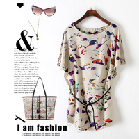 2014 spring women's fashion loose plus size batwing sleeve one-piece dress