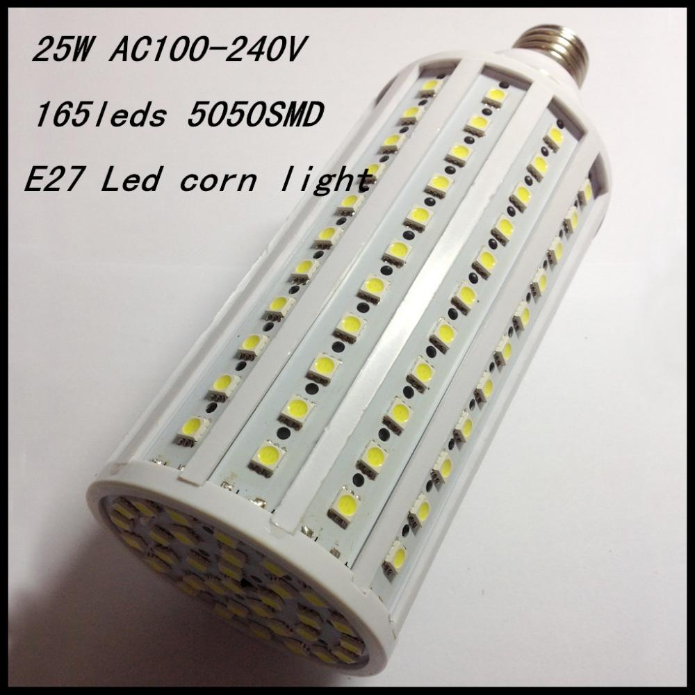 2014 NEW 2pcs E27 Led corn light 165leds 5050SMD 25W cold/warm/nature white AC100-240V 360 angle Free shipping(China (Mainland))