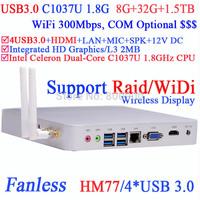 htpc mini itx with Native USB3.0 WiDi technology support DOS Raid Intel HM77 C1037U 1.8G 8G RAM 32G SSD 1.5TB HDD Windows Linux