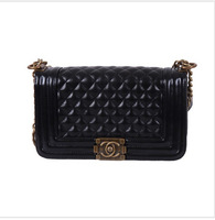 2014 the European and American fashion chain grid one shoulder aslant lady handbag