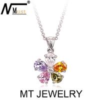 MT Limited Crystal CZ Jewelry Pear Cut multicolor Zircon Flower Pendant Necklace