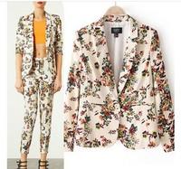 2014 women's clothing new fashion Europe Elegant floral print all match blazers casual suit blazer outerwear casacos femininos