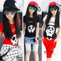 Large female child summer 2014 paillette all-match elastic short-sleeve T-shirt basic shirt