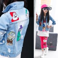 Medium-large female child 2014 spring cartoon embroidery denim jacket outerwear cardigan